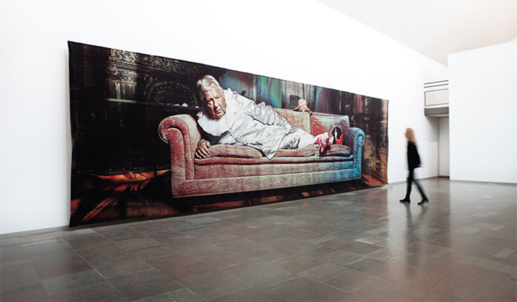 "Miriam Bäckström, The Opposite of Me Is I, 2011, tapestry, 9' 6 1/8"" x 32' 10"". Installation view."