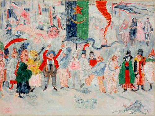 "James Ensor, Carnival in Flanders, 1931, oil on canvas, 21 1/4 x 28 3/4""."