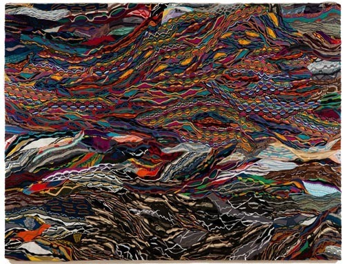 "Jayson Musson, On Some Faraway Beach, 2012, mercerized cotton stretched on linen, 111 x 84 x 2""."