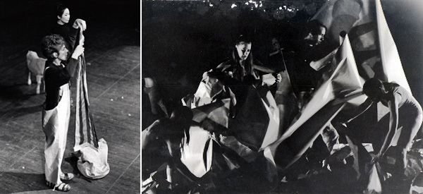 Left: Anna Halprin, Parades and Changes, 1965–67. Performance view: Hunter College, New York, 1967. Anna Halprin. Photo: Nicholas Peckham. Right: Anna Halprin, The Paper Dance, 1966, from Parades and Changes, 1965-67. Performance view: Hunter College, New York, 1967. Photo: Peter Moore.