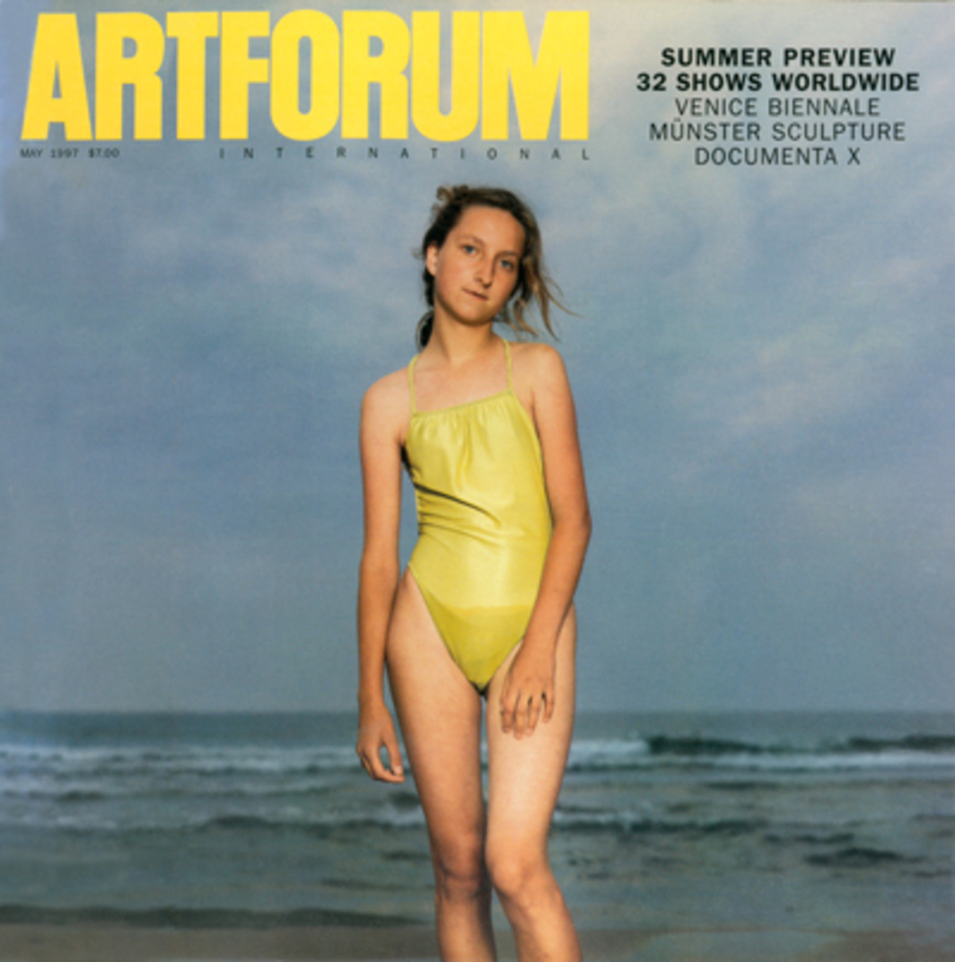 "Cover: Rineke Dijkstra, Kolobrzeg, Poland, 1992, color photograph, ca. 60 1/4 x 50 3/4"". Edition of six."