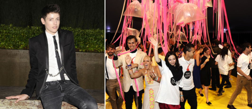Left: Harry Brant. Right: Revelers at the afterparty.