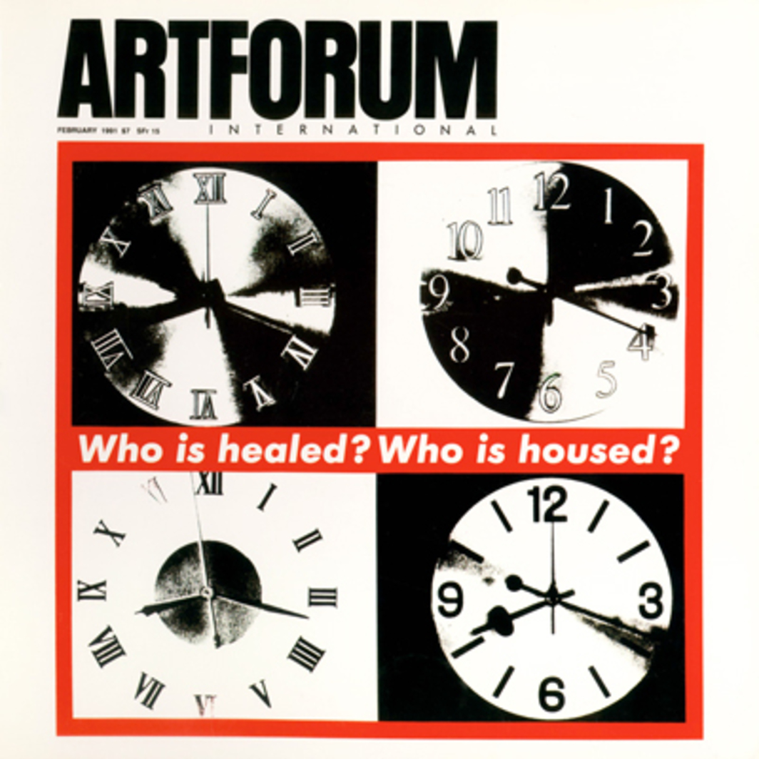 "Cover: Barbara Kruger, Untitled (Who is Housed?), 1990, photo silk screen on vinyl, ca. 48 x 54""."