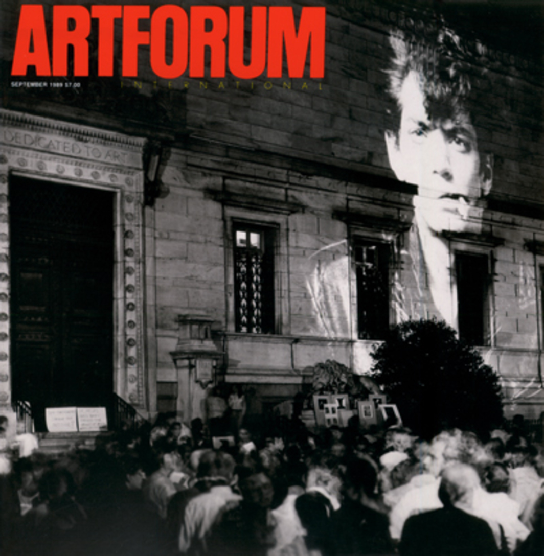 Cover: Frank Herrera's photograph shows Robert Mapplethorpe's Self-Portrait with Cigarette, 1980, as projected by laser artist Rockne Krebs on the facade of the Corcoran Gallery of Art, Washington, D.C., on June 30, 1989, as part of a demonstration protesting the museum's cancellation of the Mapplethorpe retrospective that had been scheduled to open there that evening. The demonstration—against the Corcoran's action specifically, and against censorship in the arts in general—was organized by William Wooby, of the Collector Gallery and Restaurant in Washington, and by Krebs, founder of the Coalition of Washington Artists.