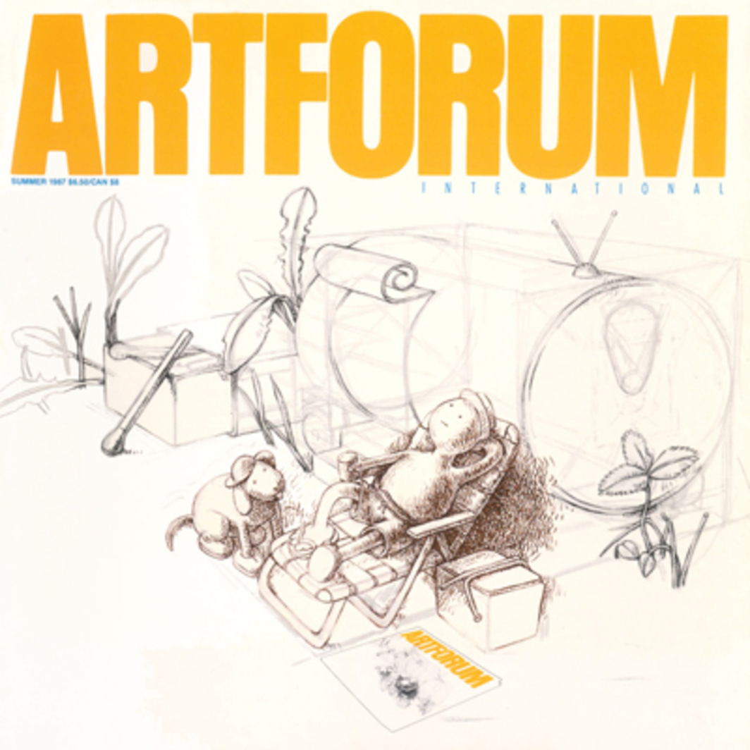 "Tom Otterness, R.V. Life, 1986, pencil and ink on paper. 18 x 24"". The copy of Artforum is inset with the permission of the artist."