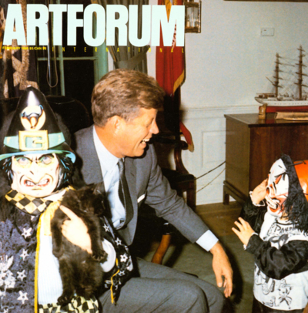 Cecil Stoughton, Halloween in the Oval Office (detail), 1963, color photoraph. Left to right: Caroline Kennedy as witch, President John F. Kennedy, John Kennedy, Jr., as Peter Panda. Stoughton, a captain in the Army Signal Corps., was assigned to be one of the two White House Photographers. Collection of the John F. Kennedy Library, Boston, Mass.