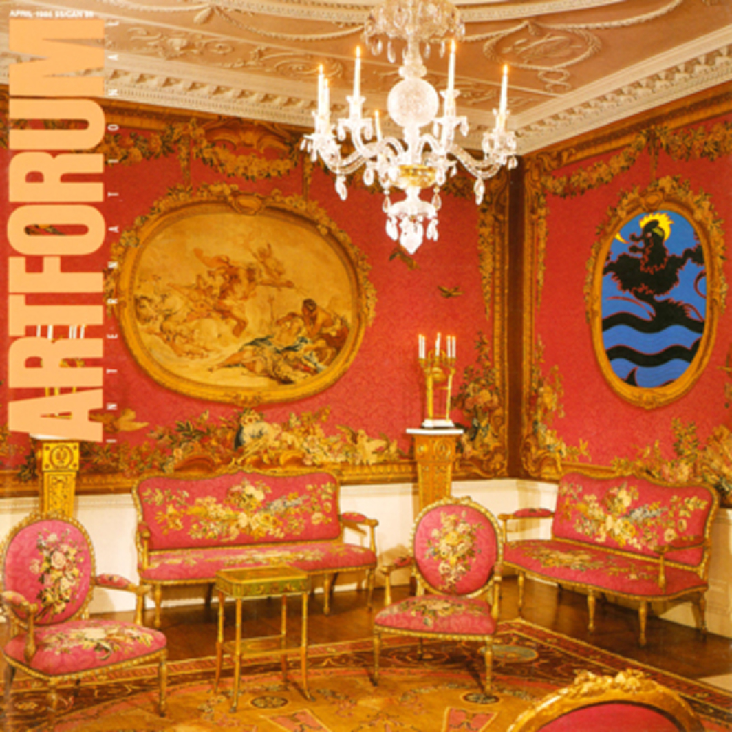 "Artforum update, 1986, of Rococo room with Gobelins tapestries after designs by François Boucher and Maurice Jacques, executed in workshops of Jacques Neilson, 1764–71; ceiling designed by Robert Adam, and executed by Joseph Rose. Originally Lord Coventry's Tapestry Room at Croome Court, Worcester, England, the room was reinstalled in the Metropolitan Museum of Art, New York, in 1958. Here, the northwest corner is shown redecorated with a detail of General Idea's Le Fin, 1985, fluorescent acrylic on wood, 5' x 4' x 2"". For the proper version of the Metropolitan's reconstruction see p. 81 of ""The Imagination in Sheep's Clothing."""