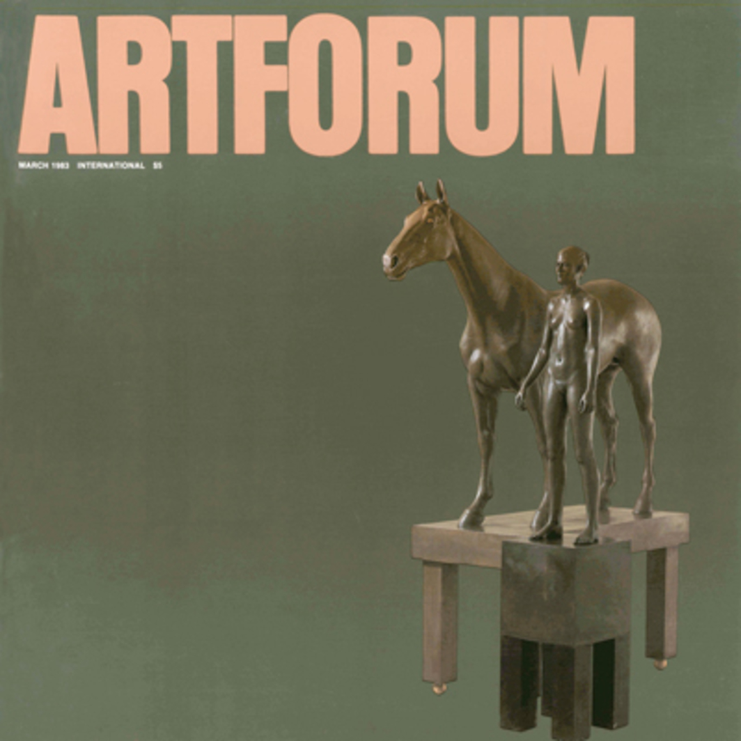 "Robert Graham, Stephanie and Spy, 1980–81, cast bronze with copper bases, figure: 68 ½ x 11 ½ x 7 ½"", horse: 71 x 56 x 14"". Collection of the Whitney Museum of American Art, New York."