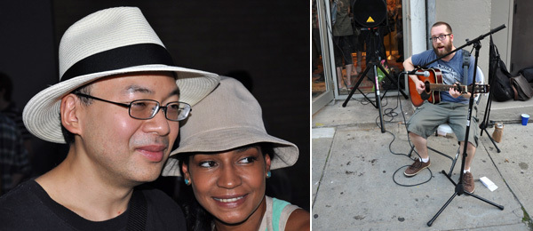 Left: Artist Yoichiro Yoda with Catalina Pena. Right: Musician Cody Westphal.