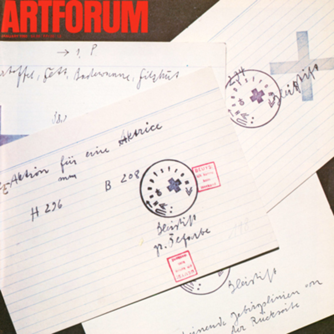 Cards made by Joseph Beuys to document actions, performances and sculptures. Photo: John Ferrari.