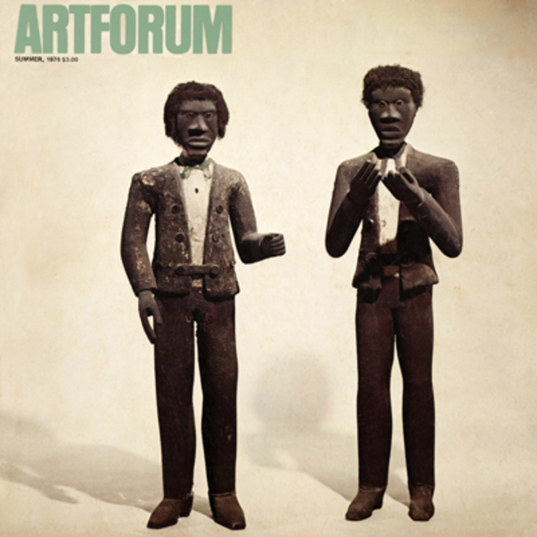 "Two Black Figures, Hamilton, Ohio, ca. 1880, wood and mixed media, 56½ and 53¾"" high, in ""Folk Sculpture USA,"" Brooklyn Museum. (Photo: Robert Mates and Gail Stern.)"