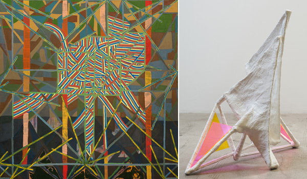 "Left: Steve Roden, tacet permutations, 2012, oil and acrylic on linen, 6' x 9"". Right: Steve Roden, 866 (silence and light), 2011, bass wood, wire, plaster, cloth, Plexiglas, 33 1/2"" x 21"" x 35""."