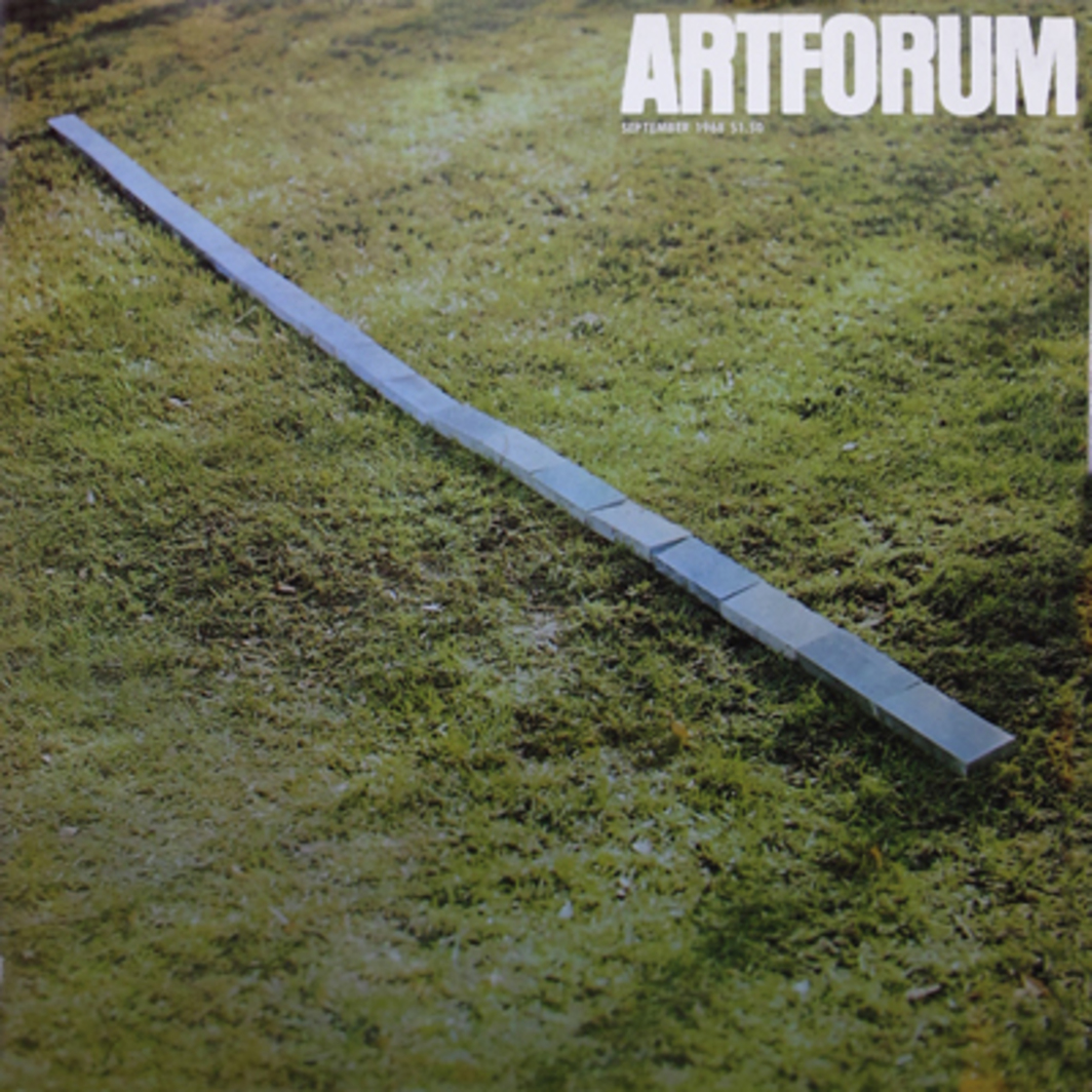 Aluminum Piece by Carl Andre. (Coll. Fritz and Agnus Becht, Holland.) (Photo: Rosemarie Castoro; color courtesy Dwan Gallery.)