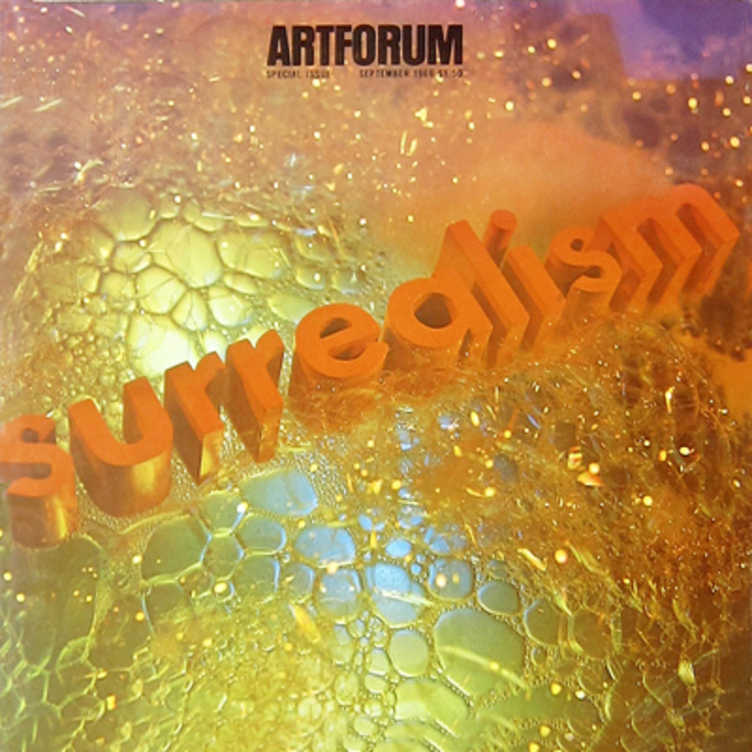 "Surrealism Soaped and Scrubbed, mixed media, 14"" x 14"", 1966, designed for ARTFORUM by Edward Ruscha. (Photo courtesy Patrick Blackwell.)"