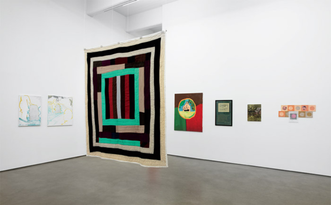 "View of ""Context Message,"" 2012, Zach Feuer Gallery, New York. From left: Trevor Shimizu, Spa Castle Detail, 2010; Trevor Shimizu, Spa Castle, 2010; Lola Pettway, Housetop Medallion, 2004; Martin Kippenberger, Koln's Flocken, ca. 1980; Elaine Reichek, Sampler (Othello), 2001; Ull Hohn, Untitled, 1993; Nicolas Guagnini, Responsive Eye (Bridget 7), 2012."