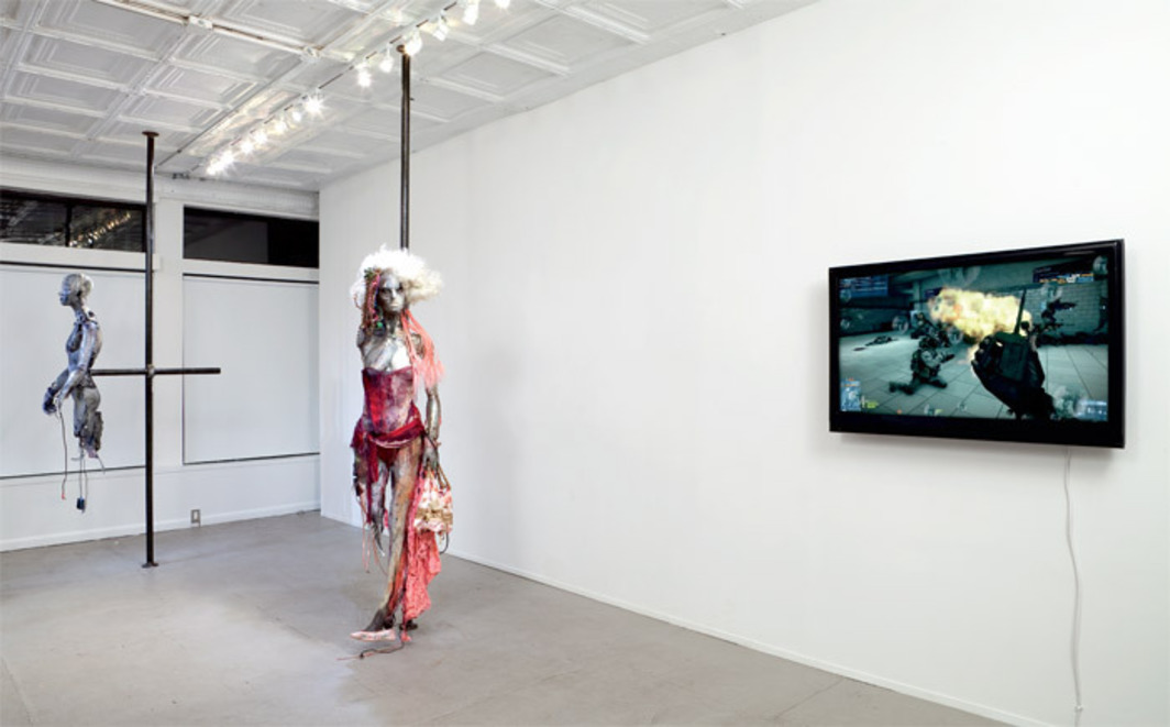 "View of ""Stewart Uoo: Life Is Juicy,"" 2012, 47 Canal, New York. From left: Don't Touch Me (Oil Spill), 2012; Don't Touch Me (Bikrahm Yoga), 2012; Confessions (9Women), 2012. Photo: Joerg Lohse."