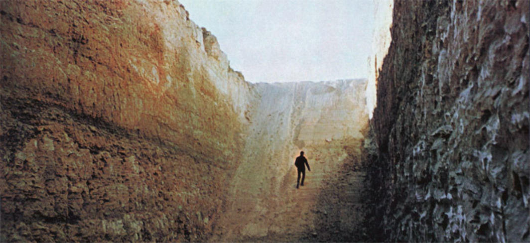 "Michael Heizer, Double Negative, 1969. Virgin River Mesa, NV. From Philip Leider's ""How I Spent My Summer Vacation,"" Artforum 9, no. 1 (September 1970).