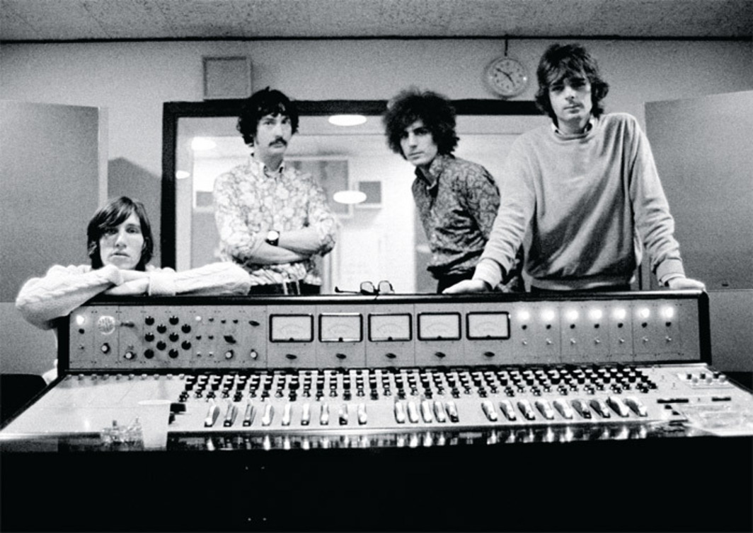 Pink Floyd at Abbey Road Studios, London, 1967. From left: Roger Waters, Nick Mason, Syd Barrett, Rick Wright. Photo: Andrew Whittuck/Redferns.