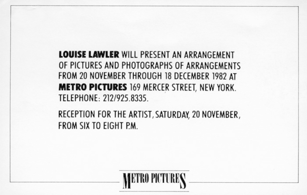 "Invitation card for Louise Lawler's ""An Arrangement of Pictures and Photographs of Arrangements,"" 1982, Metro Pictures, New York."