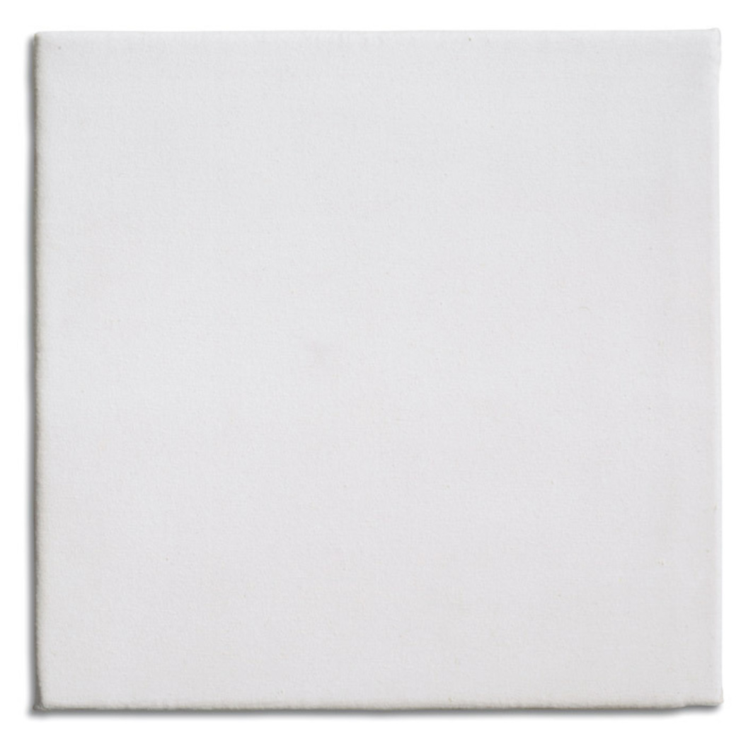 "Rosemarie Trockel, Untitled, 1988, canvas on wool, 11 3/4 x 11 3/4""."