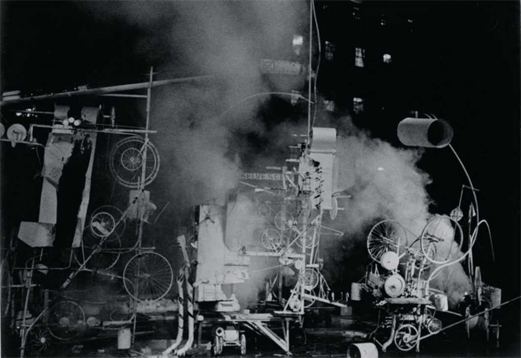 Jean Tinguely, Homage to New York, 1960, mixed media. Performance view, Abby Aldrich Rockefeller Sculpture Garden, Museum of Modern Art, New York, March 17, 1960. Photo: David Gahr.