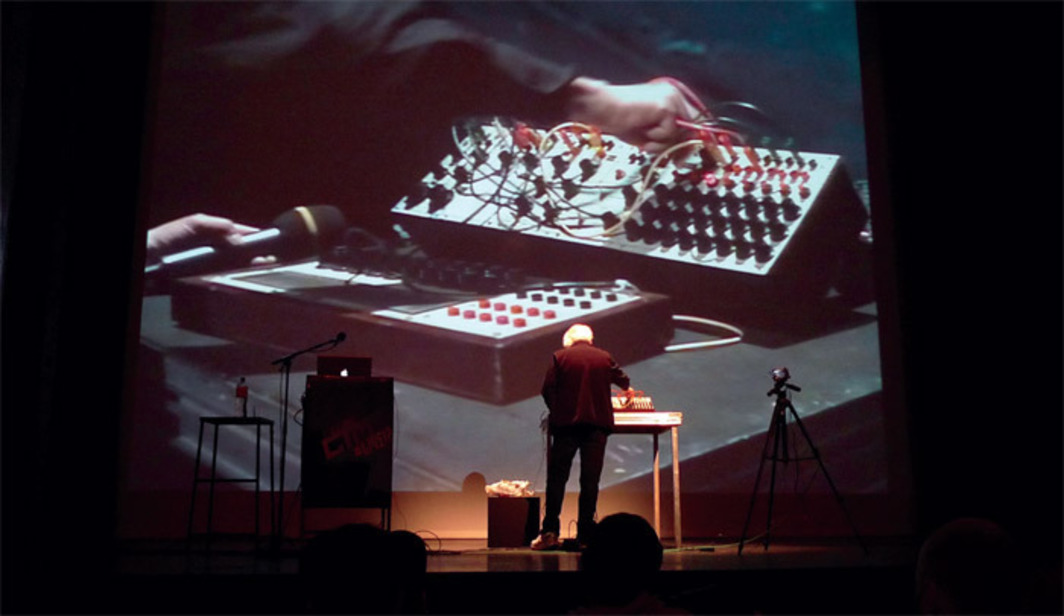 Morton Subotnick performing with a Buchla synthesizer, Transmediale Festival, Hebbel Theater, Berlin, February 3, 2011. Photo: Sascha Pohflepp.