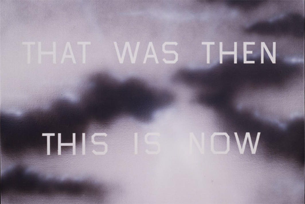 "Ed Ruscha, That Was Then This Is Now #1, 1989, acrylic on canvas, 32 x 46""."
