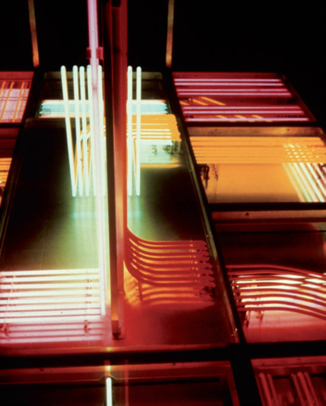 Stephen Antonakos, Walk-On Neon (detail), 1968, glass, metal, neon, 10 x 9 x 12'.