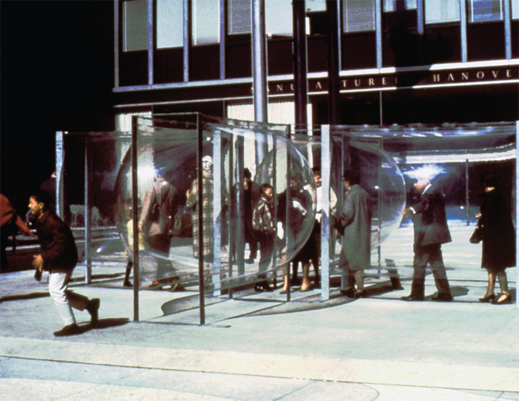Les Levine, All Star Cast, 1967, Plexiglas, aluminum. Installation view, Time-Life Building, New York. Photo: Les Levine.