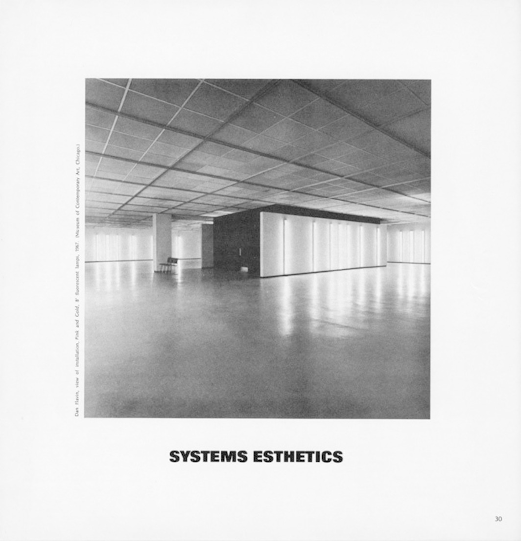 "Page from Artforum 7, no. 1  (September 1968). Jack Burnham, ""Systems Esthetics."" Pictured: Dan Flavin, Pink and Gold, 1967. 