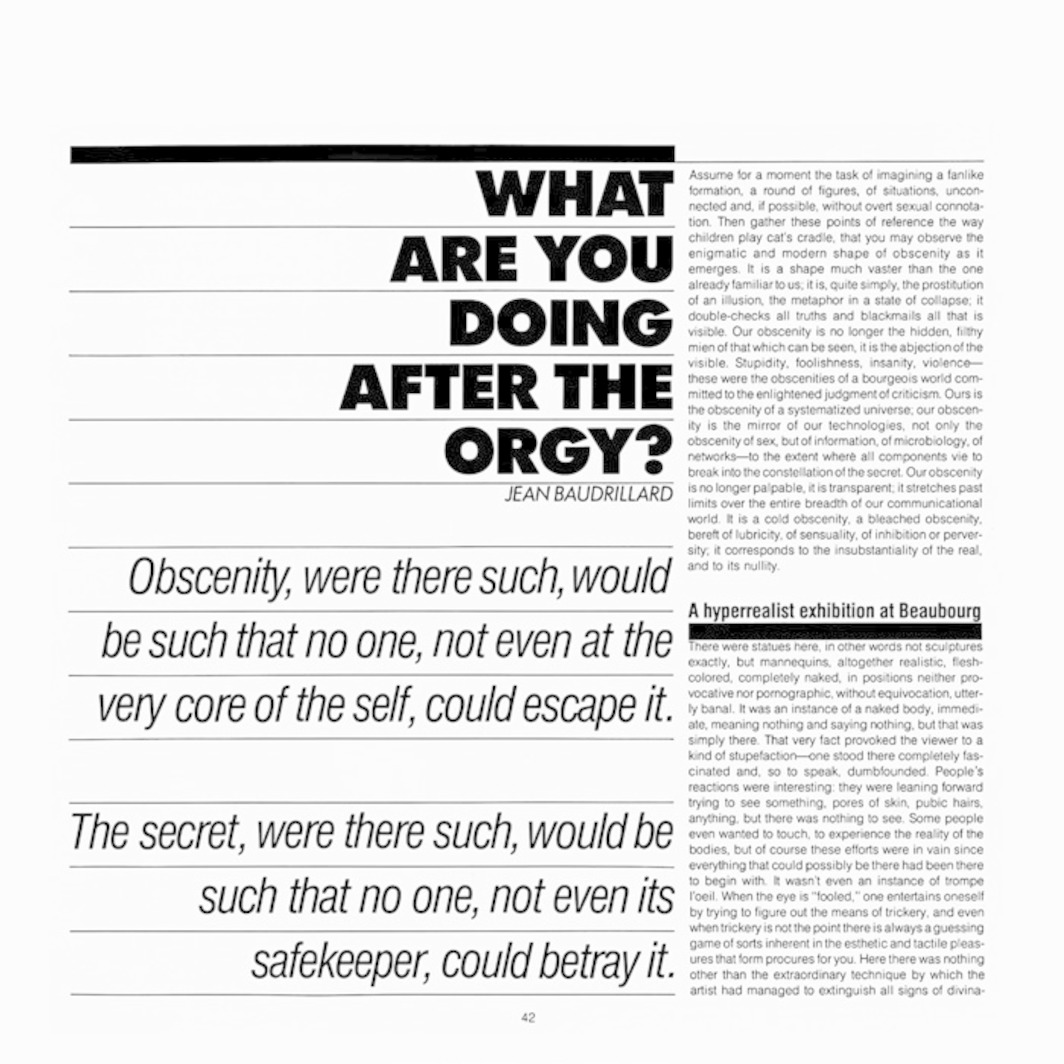 "Page from Artforum 22, no. 2 (October 1983). Jean Baudrillard, ""What Are You Doing After the Orgy?"""