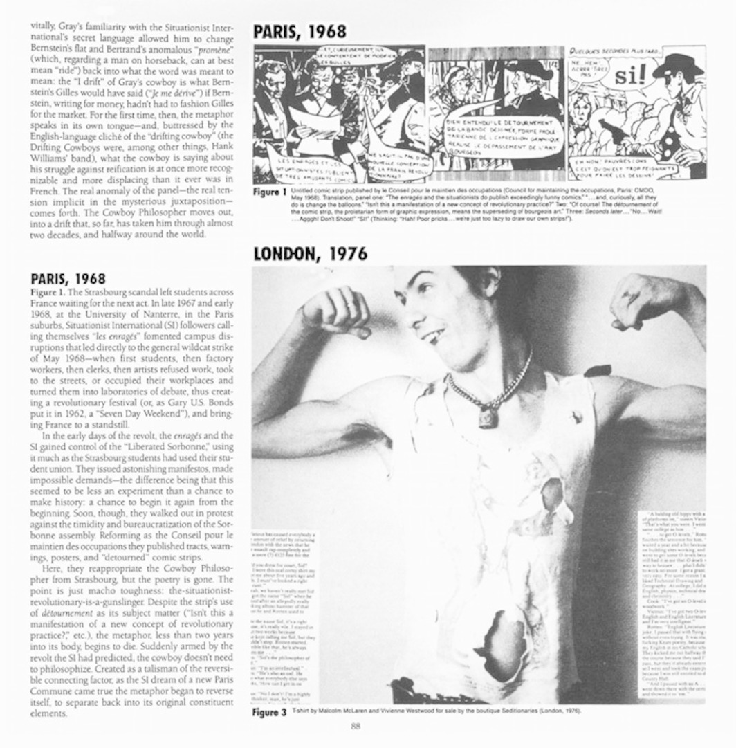 "Two pages from Artforum 24, no. 7 (March 1986). Greil Marcus, ""The Cowboy Philosopher."""