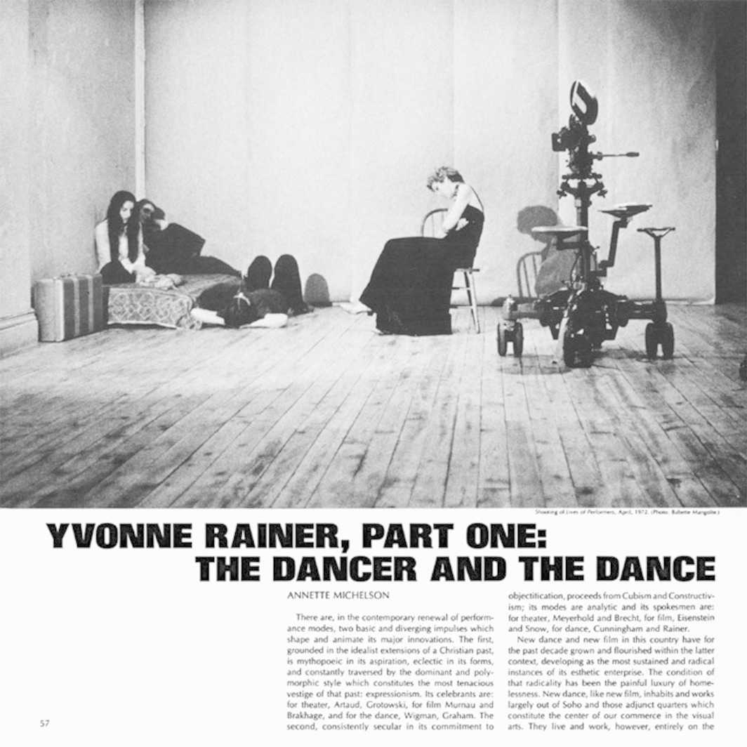 "Page from Artforum 12, no. 5 (January 1974). Annette Michelson, ""Yvonne Rainer, Part One: The Dancer and the Dance."" Shown: Production still by Babette Mangolte of Yvonne Rainer's Lives of Performers, 1972."