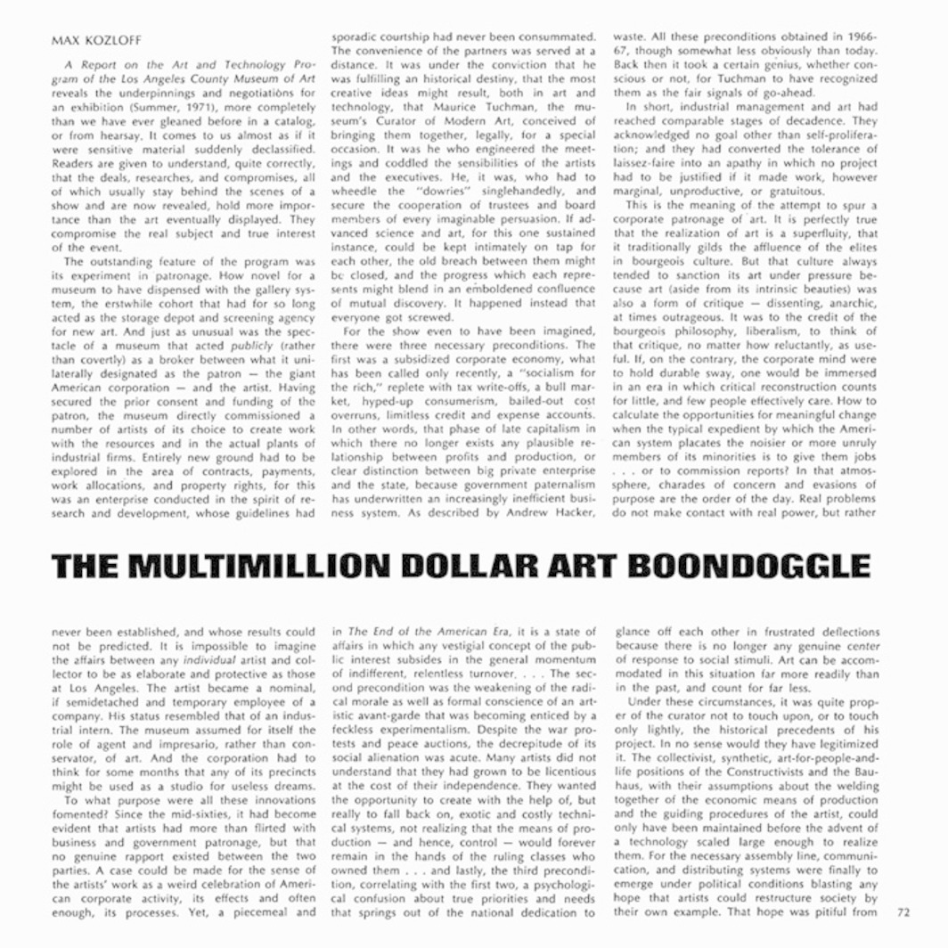 "Spread from Artforum 10, no. 2 (October 1971). Max Kozloff, ""The Multimillion Dollar Art Boondoggle."""
