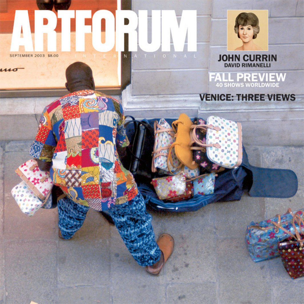 Cover of Artforum 42, no. 1 (September 2003).