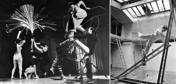 Left: Elaine Summers, Fantastic Gardens, 1964. Performance view: Judson Memorial Church, February 17, 1964. Sally Gross, Carla Blanc, Ruth Emerson, Tony Holder, Sandra Neals. Right: Elaine Summers rehearsing in her studio at 50 Third Street, New York, 1966. Photo: Dan Budnik.