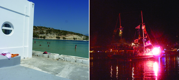 Left: The Culture Hotel Pythagoras and beach. Right: The Mykali Battle Festival.