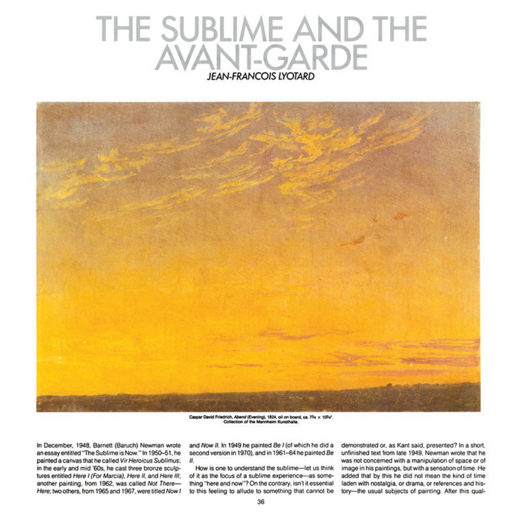 THE SUBLIME AND THE AVANT-GARDE