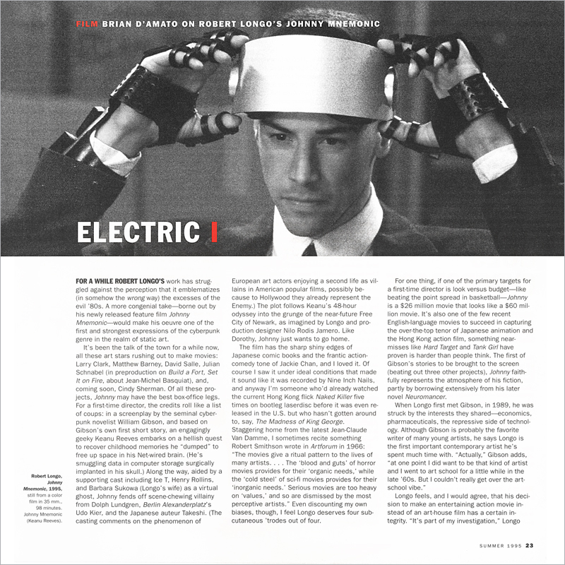 Robert Longo's Johnny Mnemonic