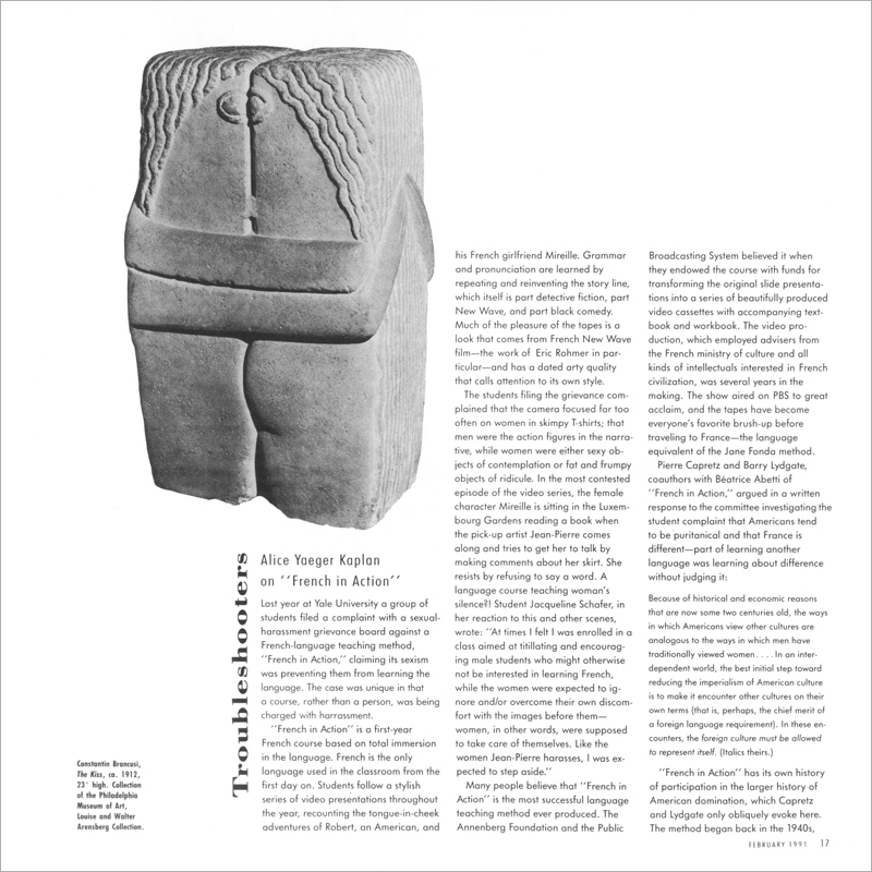 """Alice Yaeger Kaplan on """"French in Action"""" - Artforum International"""
