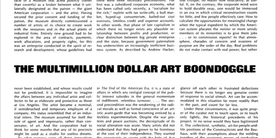 the multimillion dollar art boondoggle artforum international