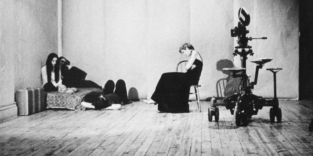 Yvonne Rainer, This is the story of a woman who..., 1972, film of Sarah Soffer and projected slide of text. (Photo: Babette Mangolte.)