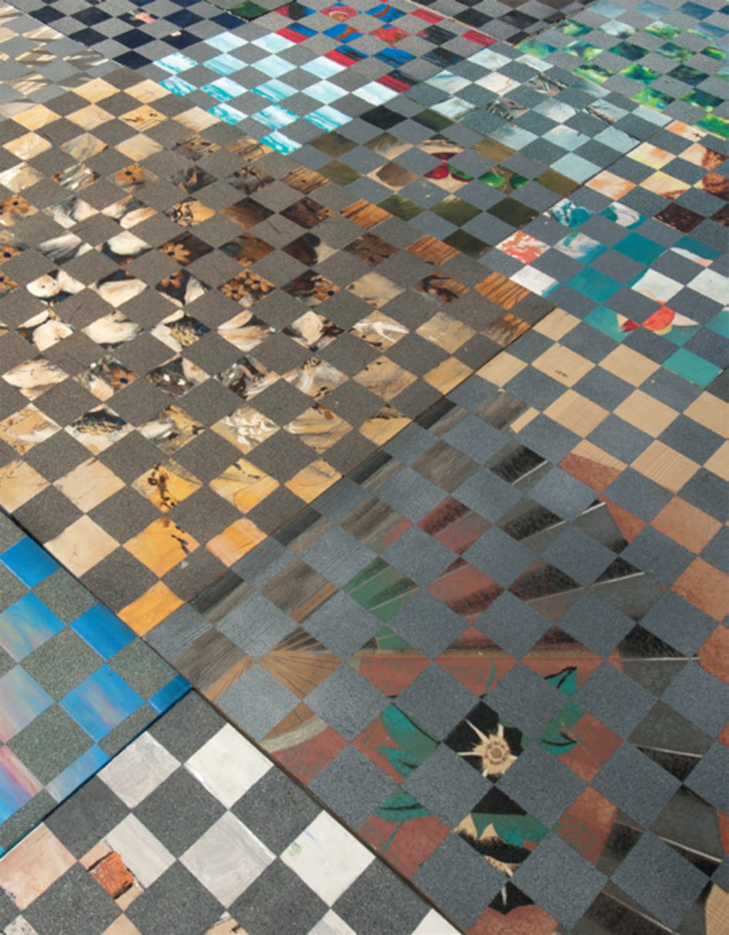 Ry Rocklen, Painting Tile Floor (detail), 2011–12, found paintings, concrete, wood, spray paint, dimensions variable. Installation view, Los Angeles Municipal Art Gallery, Barnsdall Art Park.