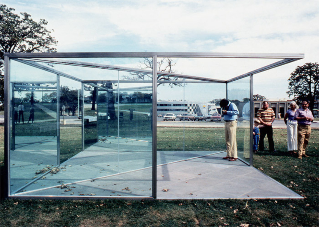 Dan Graham, Pavilion/Sculpture for Argonne, 1981, two-way mirror, glass, steel frame. Installation view, Argonne National Laboratory, Argonne, IL.