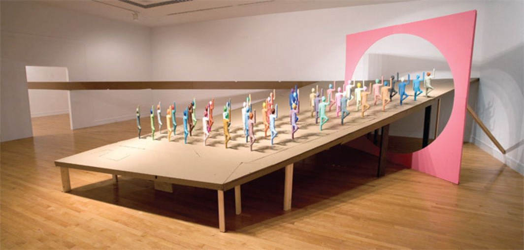 Chris Johanson, The Award of Self, 2009, found wood, acrylic, paint. Installation view, Davidson College, NC.