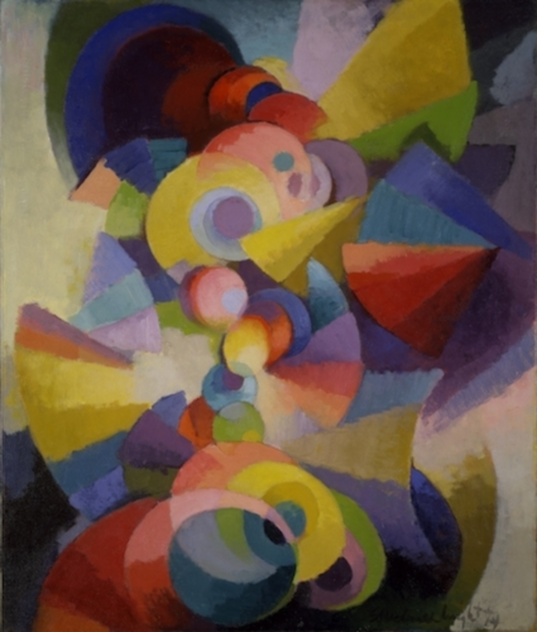 "Stanton Macdonald-Wright, Conception Synchromy, 1914, oil on canvas, 36 x 30 1/8""."