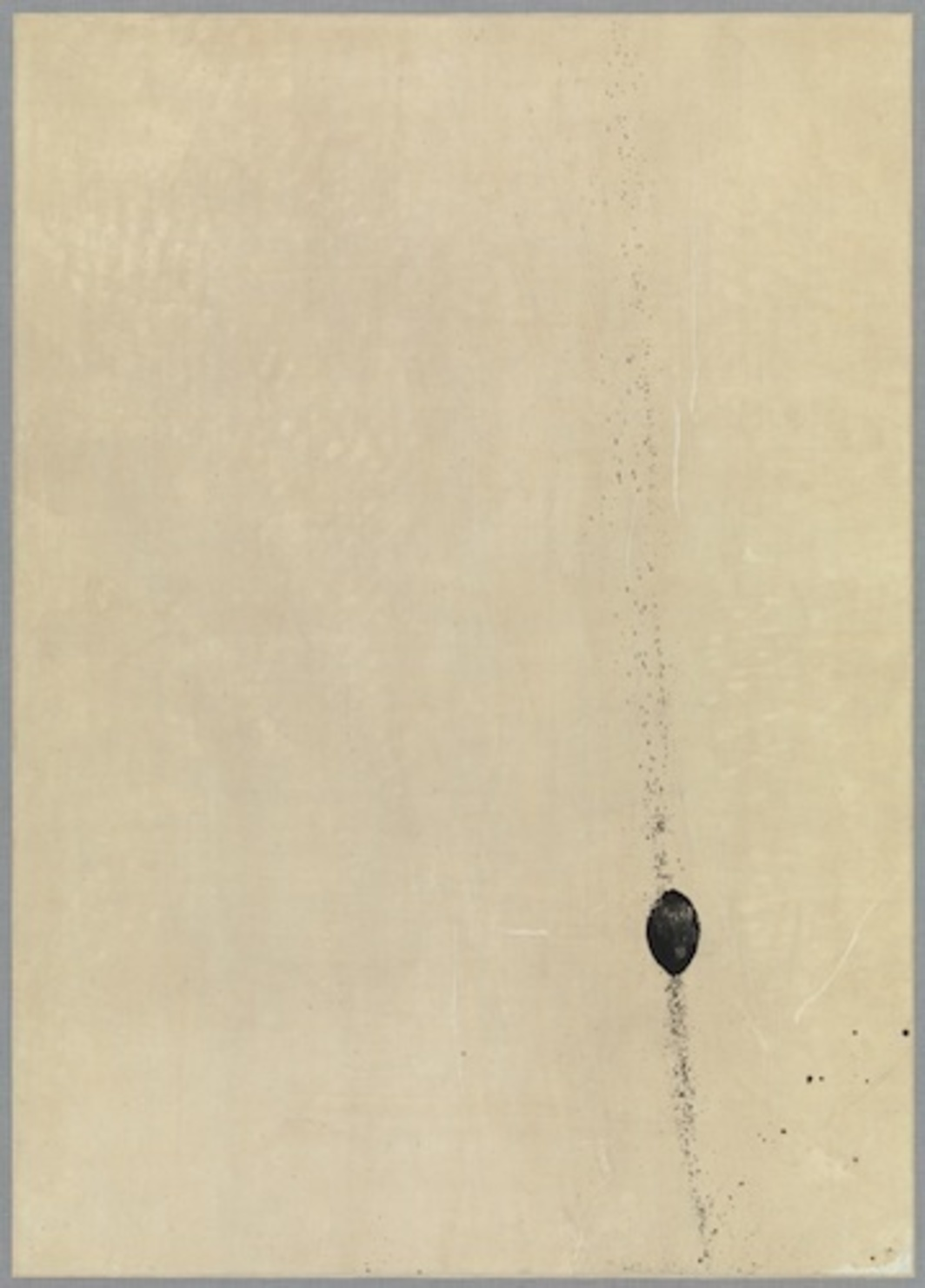 "Saburo Murakami, Tôkyû kaiga (Work Painted by Throwing a Ball), 1954, gouache on Japanese paper, 41 5/8 x 29 3/4""."