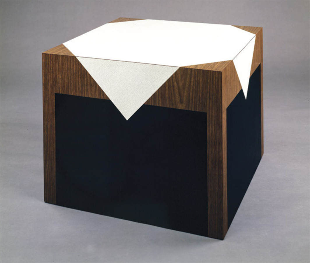 "Richard Artschwager, Description of Table, 1964, melamine laminate on plywood, 26 1/8 x 31 7/8 x 31 7/8""."