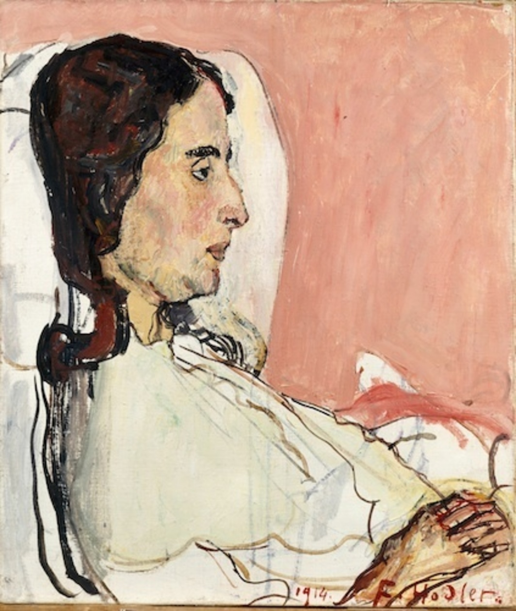 "Ferdinand Hodler, The Sick Valentine Godé-Darel, 1914, oil on canvas,18 1/2 x 15 3/4""."