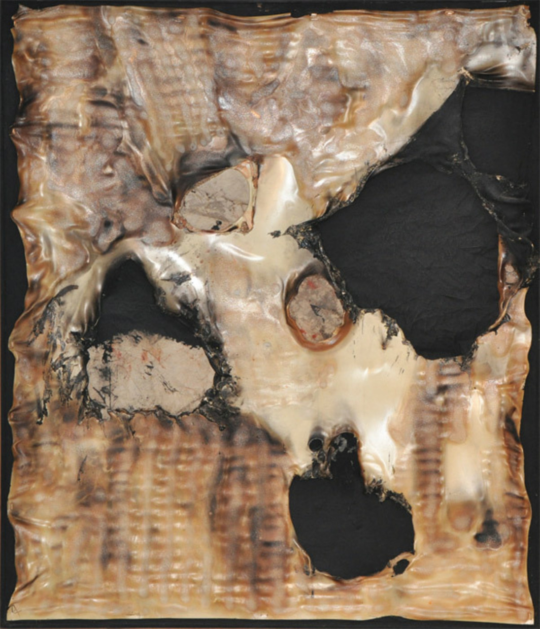 "Alberto Burri, Combustione Plastica (Plastic Combustion), 1958, burnt plastic and acrylic on canvas, 38 1/2 x 33""."